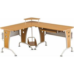 Modern Stylish Corner Desk, MDF, Woodgrain Effect, Monitor Stand, Oak