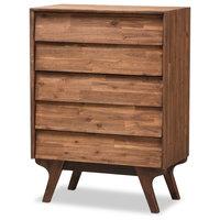 Midcentury Modern Brown Wood 5-Drawer Chest