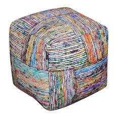 Verdun Light Multicoloured Pouffe, Cube