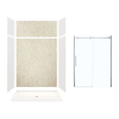 "Expressions Alcove Shower Kit With Extension and Door, Gray/Sea Fog, 60""x32""x96"""