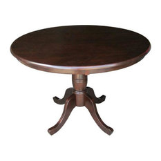 """Round 36"""" Solid Wood Dining Table With Pedestal Base"""