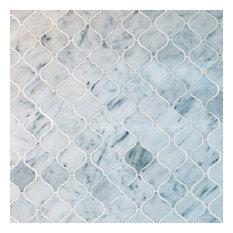 "Arabesque Marble Mosaic Tile 12.50""x12.50"", Bianco Carrara White, Box of 5 Sheet"