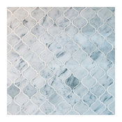 "Arabesque Marble Mosaic Tile 12.50""x12.50"", Bianco Carrara White, Box of 5 Sheet"