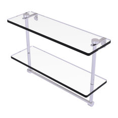 """16"""" Two Tiered Glass Shelf with Integrated Towel Bar, Polished Chrome"""