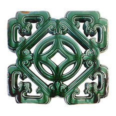 Chinese Oriental Green Glaze Square Ru Yi Clay Tile