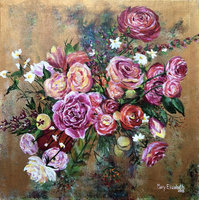 "Original Painting ""Pink Roses"" 24 x 24 Inch Canvas"
