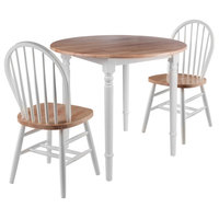 Sorella 3-Piece Set, Round Drop Leaf Table With Windsor Chairs