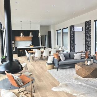 Immagine di un grande soggiorno minimalista aperto con pareti bianche, parquet chiaro, camino sospeso, TV a parete e pavimento grigio