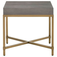 Square Top End Table With Brushed Gold Metal Base, Gray/Gold