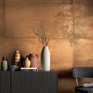 На фото: коридор в современном стиле с оранжевыми стенами