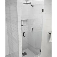 """78""""x30.25"""" Frameless Hinged Shower Door, Glass Hinge Door Style, Matte Black"""