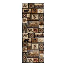 Northern Wildlife Novelty Lodge Pattern Multi-Color Runner Rug, 2.7' x 10'