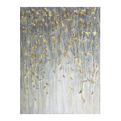 """Dangling Gold Leaves I"" Hand Painted Canvas Art"