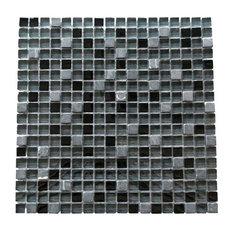 "Miseno Earth Glass Visual Wall Tile Sheet, 5/8""x5/8"", Dark Gray"