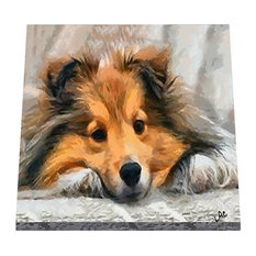 Sleeping Sheltie 8 inch Ceramic Trivet / Decorative Tile