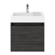 Merit Wall-Hung Bathroom Vanity Unit With Basin, Black, 50 cm