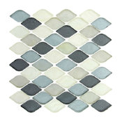 "10.25""x10.25"" Glass Tile Mosaic Backsplash Gray Scale, Single Sheet"