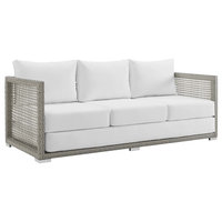 Aura Outdoor Wicker Rattan Sofa, Gray White