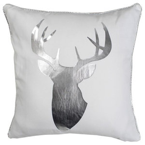 My Deer Metallic Cushion Cover, White and Silver