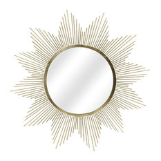 Starry Gold Sunburst Wall Mirror, 37""