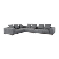 Porter  Sectional - Antique Brass - Milestone Charcoal