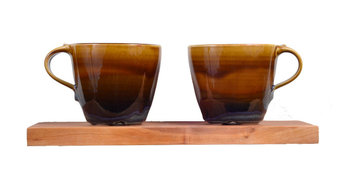 Double Americano Mug With Cherry Wood Shelf, Amber and Blue, 12oz