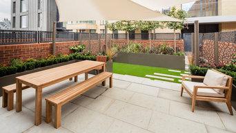 Barratt Homes Fulham Riverside Artificial Grass and Shade Sail Structure Garden