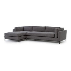 Diorama Modern Classic Charcoal Left Arm Chaise Sectional Sofa   Sectional  Sofas