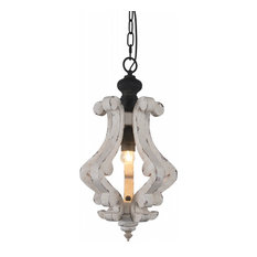Cottage Rustic Wooden Chandelier Kitchen Island Light, 1-Light