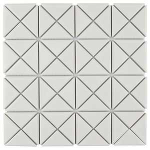 "10.13""x10.13"" Tri Crossover Porcelain Mosaic Floor and Wall Tile, Glossy White"