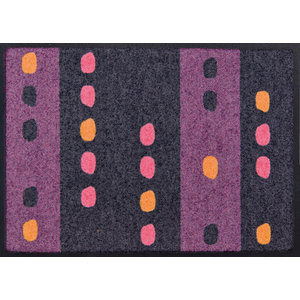 Striped and Spotted Easy-Clean Door Mat, Purple