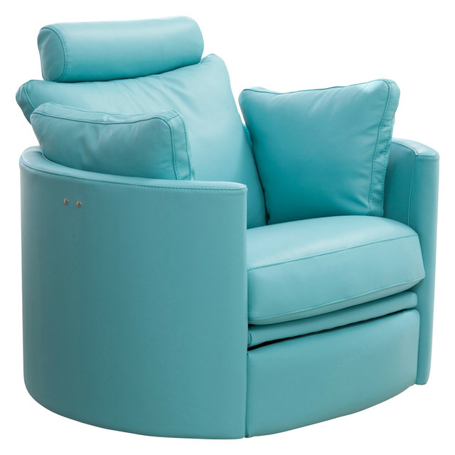 Famaliving Moon Rocking, Swivel, Powered Recliner, Blue Leather