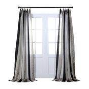 "Organza Vertical Stripe Sheer Curtain, Polished Silver & Black, 50"" x 108"""