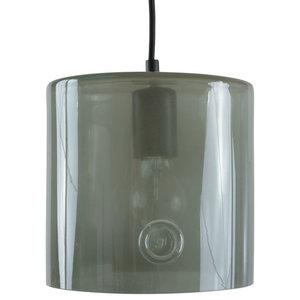 Rounded Glass Cylinder Pendant Light, Grey