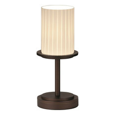 Fusion - Dakota Table Lamp - Dark Bronze, Ribbon Artisan Glass Cylinder with Fla