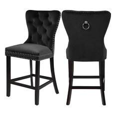 Nikki Velvet Stools, Set of 2, Black