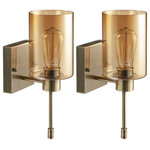 ESCENA - 1-Light Wallchiere, Wall Sconce Vanity Lights (Set of 2), Amber Glass - If you would not like to sacrifice square footage, a wall sconce is a great option for lighting up bare walls with décor and light. A vintage design gets a modern makeover with this on-trend armed sconce. Made with metal, this fixture features a square backplate and a slender arm in a bronze finish to add some classic character. A cylindrical amber glass shade completes the look, providing a clear view of a single compatible 40W ST58 bulb (included) as it casts a warm glow over your interior.