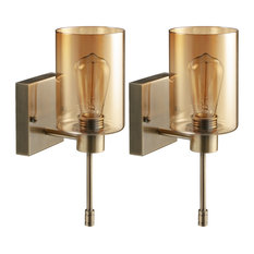 1-Light Wallchiere, Wall Sconce Vanity Lights (Set of 2), Amber Glass