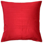 "Pillow Decor Ltd. - Pillow Decor Sankara Silk Throw Pillows 16""x16"", Red - Make any space pop with this dazzling 16x16 true red silk throw pillow. Made from 100% Indian dupioni silk, the Sankara Silk pillows have all the depth and natural texture that you would expect from a genuine dupioni silk fabric."