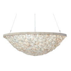 Abalone Seashell Bowl Pendant Lamp, Diameter 28 x 12 inch, Pearlescent White