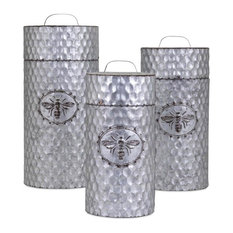 Imax Zinc Set Of 3 Canisters With Gray Finish 10454-3