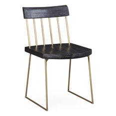 Madrid Pine Chair (Set Of 2) - Matte Black With Brush Brass