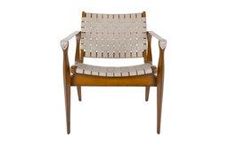Safavieh Dilan Leather Safari Chair, White/Brown