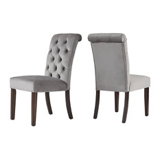 Rosalyn Velvet Button Tufted Espresso Dining Chair, Set of 2, Grey