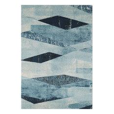 "Abani Laguna Geometric Area Rug, Distressed Blue, 7'9""x10'2"""
