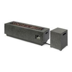 Hemmingway Outdoor Rectangular Fire Pit With Tank Holder, Concrete Finish