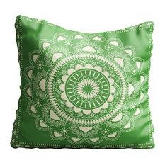 Boho Indian Mandala Green Throw Pillow Case