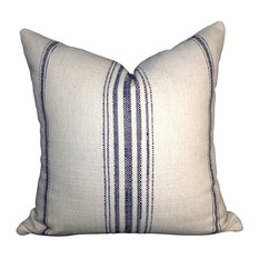 "Primitive Navy Blue Stripe Cotton Pillow Cover, Off White, 12""x20"""