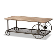 Unique Coffee Table Decorative Wheels Base With Mesh Shelf Natural And Black