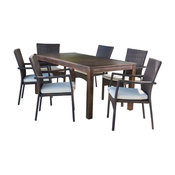 GDF Studio 7-Piece Goodman Outdoor Dining Set With Brown Wood Table and Chair